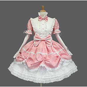 cheap Lolita Dresses-Princess Sweet Lolita Dress Women's Girls' Cotton Japanese Cosplay Costumes Plus Size Customized Black / Blue / Pink Ball Gown Solid Color Fashion Cap Sleeve Short Sleeve Short / Mini / Tuxedo