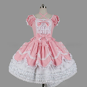 cheap Lolita Dresses-Princess Sweet Lolita Dress Women's Girls' Lace Japanese Cosplay Costumes Plus Size Customized Pink Ball Gown Vintage Cap Sleeve Short Sleeve Short / Mini