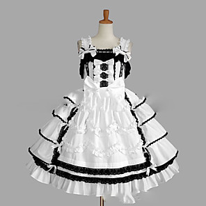 cheap Flush Mount Wall Lights-Princess Sweet Lolita Dress JSK / Jumper Skirt Women's Girls' Lace Japanese Cosplay Costumes Plus Size Customized White Ball Gown Vintage Cap Sleeve Sleeveless Short / Mini