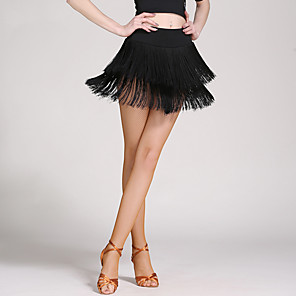 cheap Latin Dancewear-Latin Dance Skirts Tassel Women's Dropped