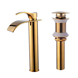 cheap Bathroom Sink Faucets-Faucet Set - Waterfall Gold Centerset Single Handle One HoleBath Taps / Brass