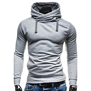 cheap 3D Night Lights-Men's Hoodie Solid Colored Hooded Contemporary Active Basic Hoodies Sweatshirts  Long Sleeve Slim Black Green Gray / Sports / Spring / Fall / Winter