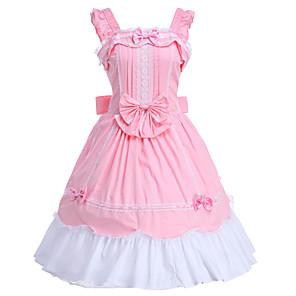 cheap Lolita Dresses-Princess Sweet Lolita Dress JSK / Jumper Skirt Women's Girls' Cotton Japanese Cosplay Costumes Pink Solid Colored Sleeveless Knee Length