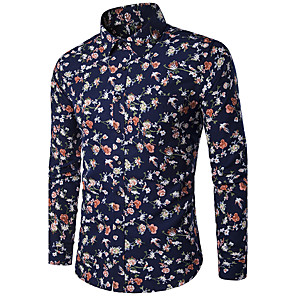 cheap Jewelry Sets-Men's Shirt Floral Print Slim Tops Classic Collar Navy Blue / Long Sleeve