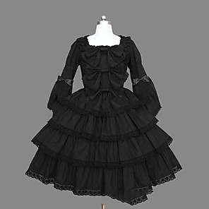 cheap Lolita Dresses-Princess Gothic Lolita Punk Dress Women's Girls' Japanese Cosplay Costumes Plus Size Customized Black Ball Gown Vintage Cap Sleeve Long Sleeve Short / Mini / Gothic Lolita Dress