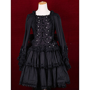 cheap LED String Lights-Princess Gothic Lolita Punk Dress Women's Girls' Cotton Japanese Cosplay Costumes Plus Size Customized Black Ball Gown Vintage Cap Sleeve Long Sleeve Short / Mini / Gothic Lolita Dress
