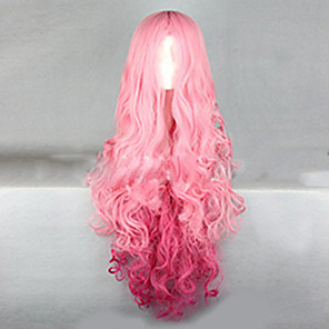 cheap Synthetic Trendy Wigs-Synthetic Wig Wavy Wavy Wig Pink Very Long Pink+Red Synthetic Hair Women's Ombre Hair Pink hairjoy