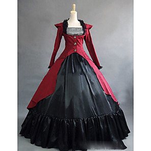 cheap Historical & Vintage Costumes-Rococo Victorian 18th Century Dress Party Costume Masquerade Women's Satin Costume Red Vintage Cosplay Party Prom Long Sleeve Floor Length
