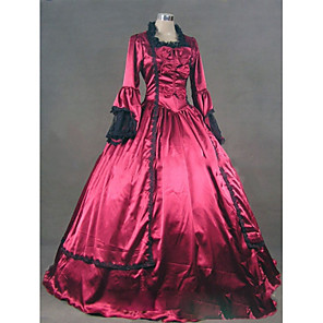 cheap Historical & Vintage Costumes-Rococo Victorian 18th Century Dress Party Costume Masquerade Women's Satin Costume Fuchsia Vintage Cosplay Party Prom Long Sleeve Floor Length Plus Size Customized