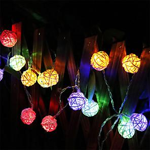 cheap LED String Lights-2m String Lights 20 LEDs Warm White Multi Color Christmas Wedding Decoration Battery