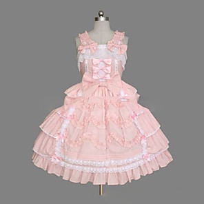 cheap Lolita Dresses-Princess Sweet Lolita Summer Dress JSK / Jumper Skirt Women's Girls' Cotton Japanese Cosplay Costumes Plus Size Customized Pink Ball Gown Vintage Cap Sleeve Sleeveless Short / Mini
