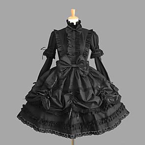 cheap Lolita Dresses-Princess Gothic Lolita Classic Lolita Punk Dress Women's Girls' Cotton Japanese Cosplay Costumes Plus Size Customized Black Ball Gown Solid Color Fashion Vintage Cap Sleeve Short Sleeve Short / Mini