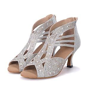 cheap Wedding Shoes-Women's Dance Shoes Sparkling Glitter Latin Shoes / Salsa Shoes Rhinestone / Sparkling Glitter Sandal / Heel Flared Heel Customizable Black / Golden / Silver / Performance / Professional / EU41