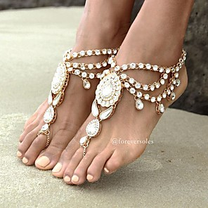 cheap Hair Jewelry-Barefoot Sandals feet jewelry Ladies Boho Bohemian Women's Body Jewelry For Daily Casual Tassel Fringe High End Crystal Rhinestone Alloy Flower Gold Silver