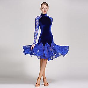 cheap Latin Dancewear-Latin Dance Dress Draping Women's Performance Long Sleeve Natural Lace Velvet