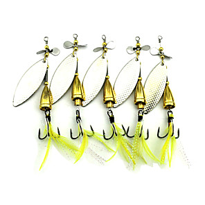 cheap Fishing Lures & Flies-5 pcs Hard Bait Buzzbait & Spinnerbait Spoons Metal Bait Sinking Bass Trout Pike Sea Fishing Carp Fishing Bass Fishing / Lure Fishing / Trolling & Boat Fishing