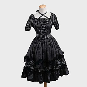 cheap Historical & Vintage Costumes-Princess Sweet Lolita Dress Women's Girls' Japanese Cosplay Costumes Black Polka Dot Stripes Short Sleeve Knee Length