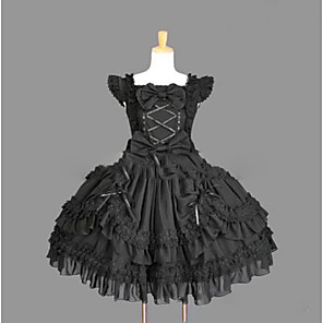 cheap Lolita Dresses-Princess Gothic Lolita Punk Summer Dress Women's Girls' Lace Cotton Japanese Cosplay Costumes Plus Size Customized Black Ball Gown Vintage Cap Sleeve Sleeveless Short / Mini / Gothic Lolita Dress