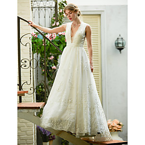 cheap Women's Sandals-A-Line Wedding Dresses Plunging Neck Sweep / Brush Train Lace Over Tulle Sleeveless See-Through Beautiful Back Illusion Detail with Sash / Ribbon Appliques 2020
