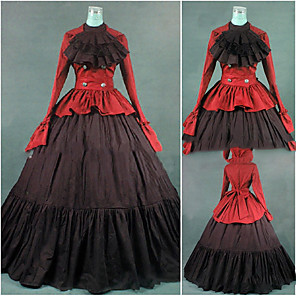 cheap Historical & Vintage Costumes-Gothic Victorian Medieval 18th Century Dress Party Costume Masquerade Women's Cotton Costume Red Vintage Cosplay Party Prom Long Sleeve Floor Length Plus Size Customized