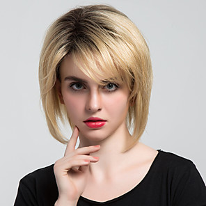 cheap Synthetic Trendy Wigs-Human Hair Capless Wigs Human Hair Classic / Natural Wave Short Hairstyles 2019 Halle Berry Hairstyles Machine Made Wig Daily