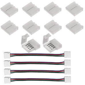 cheap LED Strip Lights-10PCS 4 Pin LED Strip Connector for 5050 RGB LED Strip Lights and  4PCS LED 5050 RGB Strip Light Connector 4 Conductor 10 mm Wide Strip to Strip Jump