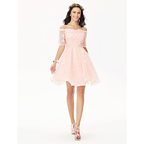 cheap Bridesmaid Dresses-Ball Gown Off Shoulder Short / Mini All Over Lace Bridesmaid Dress with Crystals / Flower / Pleats