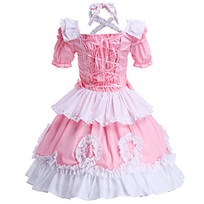 cheap Lolita Dresses-Princess Sweet Lolita Outfits Women's Girls' Cotton Japanese Cosplay Costumes Pink Solid Colored Short Sleeve Tea Length