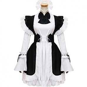 cheap Lolita Dresses-Princess Gothic Lolita Dress Maid Suits Women's Girls' Cotton Japanese Cosplay Costumes Plus Size Customized Black Ball Gown Solid Color Fashion Cap Sleeve Long Sleeve Short / Mini / Tuxedo