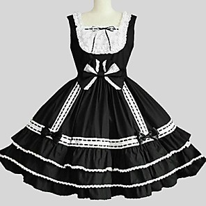 cheap Lolita Dresses-Princess Gothic Lolita Dress JSK / Jumper Skirt Women's Girls' Japanese Cosplay Costumes Black Solid Color Sleeveless Knee Length / Petticoat