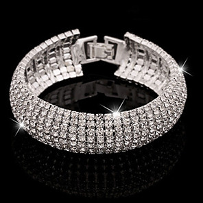 cheap Bracelets-Women's Crystal Bracelet Bangles Tennis Bracelet Ladies Cuff Luxury Basic Elegant Imitation Diamond Bracelet Jewelry Silver / Golden For Wedding Party / Evening Daily Casual Evening Party