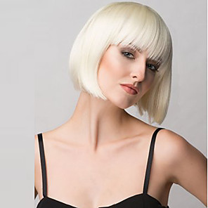 cheap Synthetic Trendy Wigs-Synthetic Wig Straight Straight Bob With Bangs Wig Blonde Medium Length Dark Brown Blonde Red Black Synthetic Hair Women's With Bangs Blonde