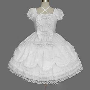 cheap Lolita Dresses-Princess Punk Summer Dress Women's Girls' Japanese Cosplay Costumes Plus Size Customized White Ball Gown Vintage Cap Sleeve Short Sleeve Short / Mini