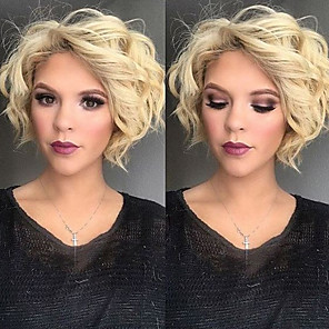 cheap Synthetic Trendy Wigs-Synthetic Wig Wavy Scarlett Wavy With Bangs Wig Blonde Short Blonde Synthetic Hair Women's Side Part Blonde