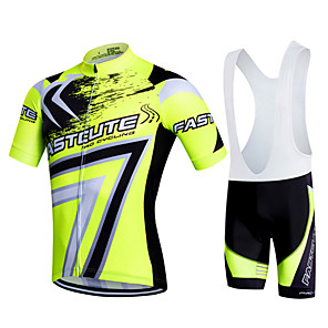 cheap Cycling Jersey & Shorts / Pants Sets-Fastcute Men's Short Sleeve Cycling Jersey with Bib Shorts Red Green Blue Plus Size Bike Bib Shorts Jersey Bib Tights Breathable 3D Pad Quick Dry Sweat-wicking Sports Polyester Lycra Bubble Mountain