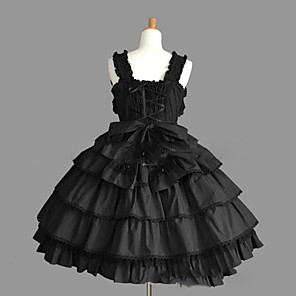 cheap Lolita Dresses-Princess Gothic Lolita Punk Dress JSK / Jumper Skirt Women's Girls' Lace Cotton Japanese Cosplay Costumes Plus Size Customized Black Ball Gown Vintage Cap Sleeve Sleeveless Short / Mini