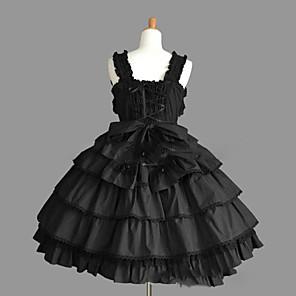 cheap Anime Costumes-Princess Gothic Lolita Punk Dress JSK / Jumper Skirt Women's Girls' Lace Cotton Japanese Cosplay Costumes Plus Size Customized Black Ball Gown Vintage Cap Sleeve Sleeveless Short / Mini