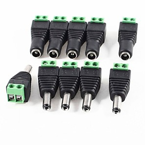 cheap RC Cars-10 Pack 2.1mm x 5.5mm DC Plug for Led Strip CCTV Camera 5 Male and 5 Female