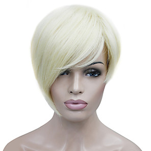 cheap Premium Synthetic Lace Wigs-Synthetic Wig Straight Straight Asymmetrical With Bangs Wig Blonde Short Bleached Blonde Synthetic Hair Women's Side Part Blonde