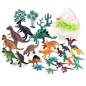 cheap Animal Action Figures-Dragon & Dinosaur Toy Dinosaur Figure Triceratops Jurassic Dinosaur Velociraptor Tyrannosaurus Rex Plastic 26 pcs Kid's Party Favors, Science Gift Education Toys for Kids and Adults