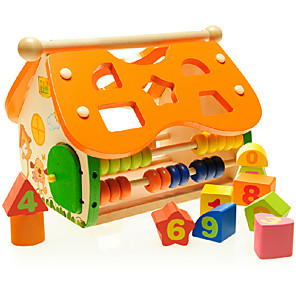 cheap Stuffed Animals-Building Blocks Toy Abacus Pegged Puzzles Toys House Wooden Children's Pieces