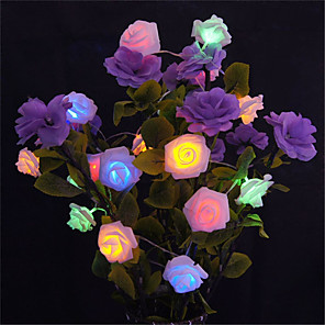 cheap LED String Lights-5M 20 LED Battery Operated String Flower Rose Fairy Light Christmas Decor (warm whiteWhitePinkYellowMulti ColorGreenRedPurpleBlue)