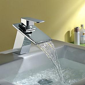 cheap Bathroom Sink Faucets-Bathroom Sink Faucet - Waterfall Chrome Centerset Single Handle One HoleBath Taps