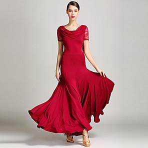 cheap Ballroom Dancewear-Ballroom Dance Dress Ruffles Women's Performance Short Sleeves Natural Lace Tulle Milk Fiber