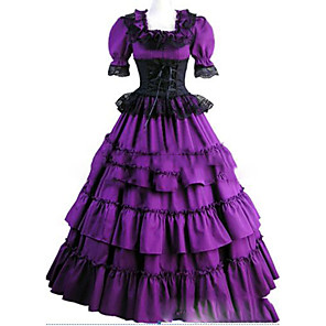 cheap Historical & Vintage Costumes-Victorian 18th Century Dress Party Costume Masquerade Women's Satin Costume Purple Vintage Cosplay Party Prom Short Sleeve Floor Length Plus Size Customized