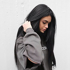billige Blondeparykker med menneskehår-Syntetisk blonder foran parykker Rett Kardashian Stil Side del Monofilament / L-del / Blonde Forside Parykk Svart Svart Syntetisk hår Dame Silkete / Varme resistent / Naturlig hårlinje Svart Parykk