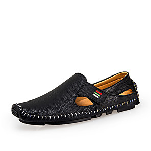 Shoes Men's Loafers & Slip-Ons Comfort Light Soles Spring Fall Leather Casual Outdoor Magic Tape Flat Heel Black (Color : Black Size : 43)