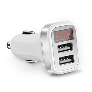 cheap Car Charger-LED Screen Car Charger QC 2.0 Dual Usb Charger Socket 2.1A Mobile Phone Charging Adapter