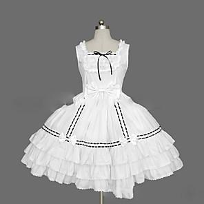cheap Lolita Dresses-Princess Sweet Lolita Summer Dress JSK / Jumper Skirt Women's Girls' Cotton Japanese Cosplay Costumes Plus Size Customized White / Black / Pink Ball Gown Vintage Cap Sleeve Short Sleeve Short / Mini