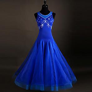 cheap Ballroom Dancewear-Ballroom Dance Dress Crystals / Rhinestones Women's Sleeveless Spandex Organza
